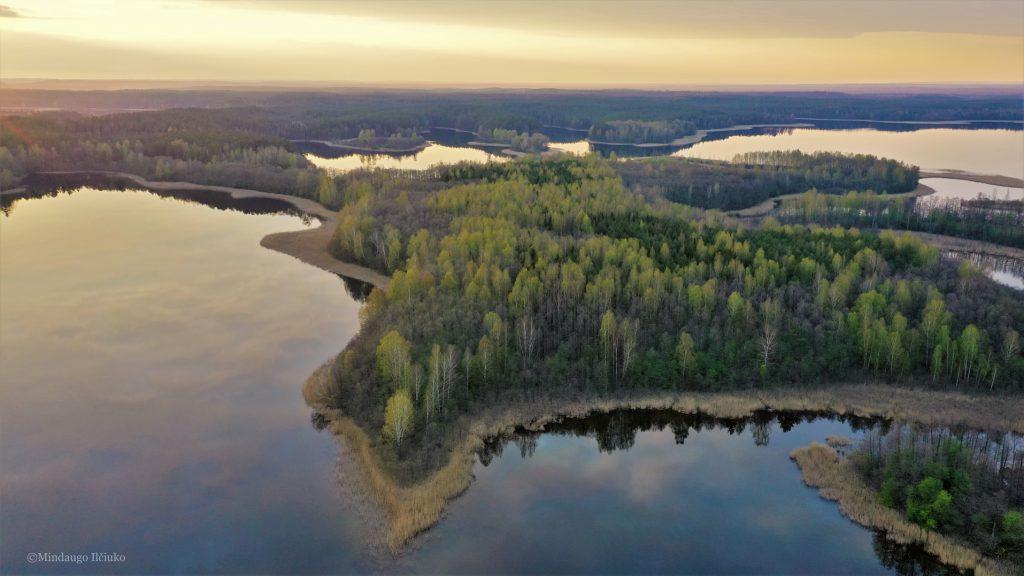 island, lake, forest